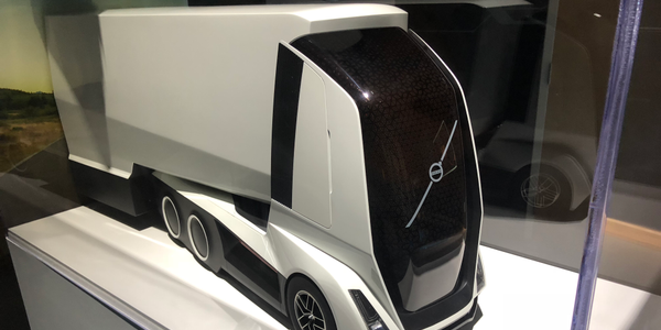 A glimpse of Volvo's work on future transportation technology is apparent in this model of an...
