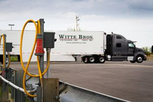Fuel savings have more than paid for installation of 460-volt, 3-phase wiring and outlets at the fleet's home terminal in Troy, Mo. Trailer TRUs run on electrical stand-by power while they're parked on weekends.