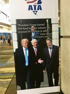 One of several impressive signs heralding ATA's bending of President Trump's ear this year. Photo: David Cullen