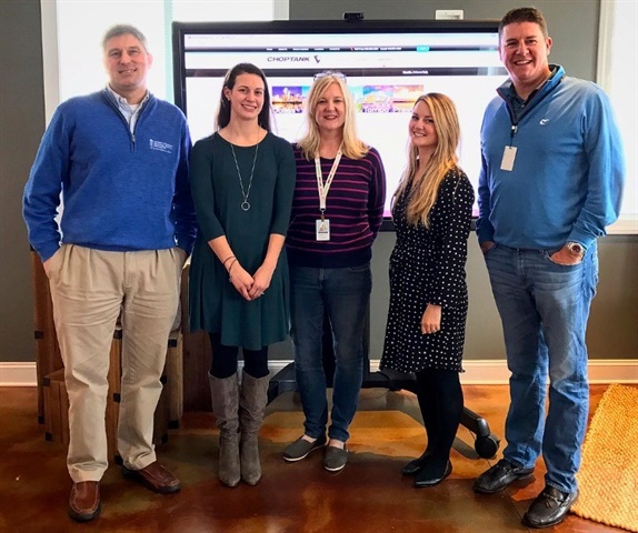 Choptank employee volunteers for the Junior Achievement program: Jennifer Daniels, Matt MacCoy, Marcia Wood, Linore Brice and Mandy Legg (not shown: Steve Covey, Scott Kirtland, Jordan Welzel). Photo: Choptank