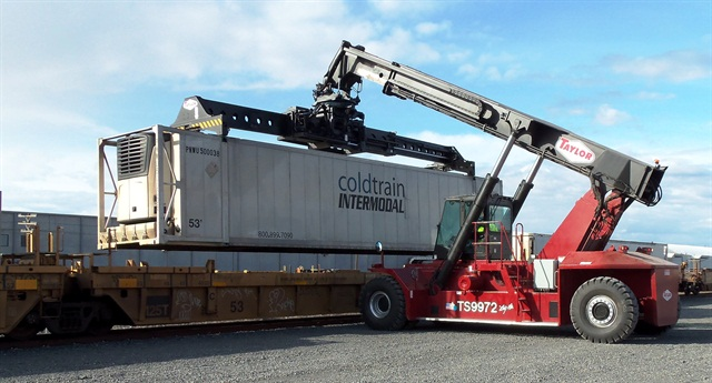 Cold Train containers being handled at the Port of Quincy's BNSF intermodal rail line. Photo courtesy Port of Quincy.