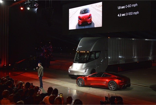 Tesla CEO Elon Musk speaks to a racous crowd at the launch of the new Semi Class 8 truck in California on Nov. 16, 2017. Photo: Jack Roberts