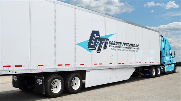 Gordon Trucking Inc. so far has installed Freight Wings on 4,600 of its 53-foot vans and expects the side skirts to last 10 years. The skirts improve fuel economy by 0.3 mpg.