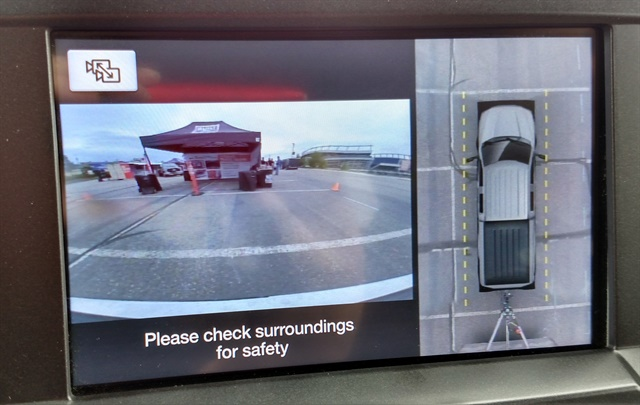 SuperDuty's multiple cameras give a 360-degree view around the truck and to the rear of the trailer. A pressure monitoring system for trailer tires is also available.