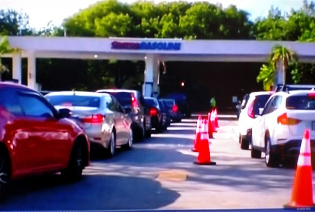 Long lines have formed at filling stations, just as they have in past emergencies. Screen capture from NBC News