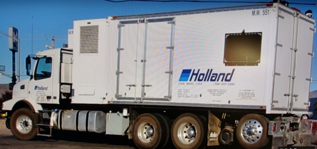 Holland rail welding rig has the welder mounted ahead of a van body with specialized equipment. They sit on a Volvo VN chassis.  Screen capture from YouTube.