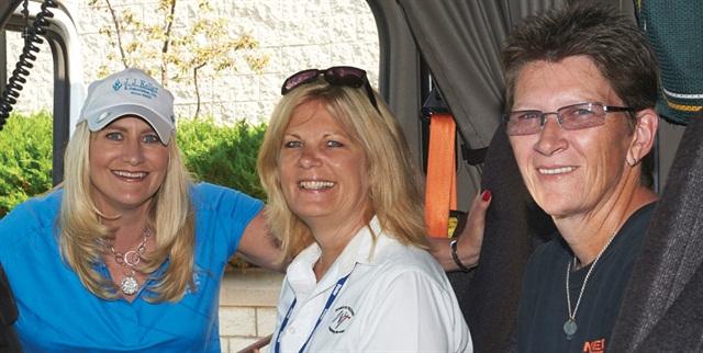 From left, Marne Keller-Krikava from J.J. Keller, Ellen Voie, who heads up Women In Trucking, and Deb Anderson from Schneider National. Photo: J.J. Keller/WIT