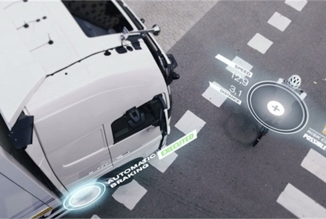 The technology acts as a data platform that combines information from cameras, radars, and sensors mounted on all sides of the truck, performing a 360-degree scan every 25 milliseconds. Photo courtesy Volvo Trucks.
