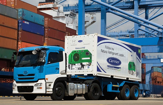 NaturaLine CO2 reefer units go to sea on containers hauling perishables. Photo: Carrier Transicold