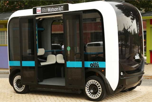 The Olli is a fully autonmous, fast-transit, 12-passenger bus under development by Local Motors and an example of the new types of transportation cited in a new report from the U.S. Energy Information Association. Photo: Autoblog
