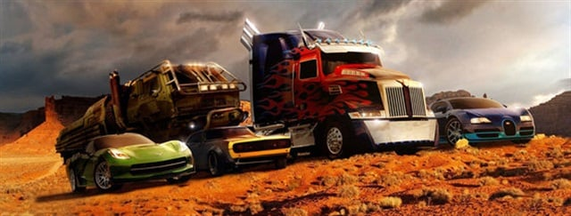 "Paramount Pictures Optimus Prime (center) and other members of the Autobots in Utah's Monument Valley, in a photo released by Paramount Pictures. ""Transformers 4,"" being filmed in part in southern Utah, is due in theaters June 27, 2014."