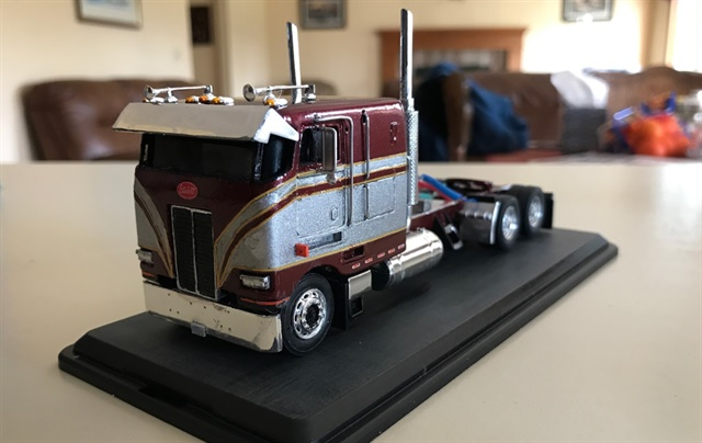 """On a side note, I had a guy from Texas build Dad a custom truck model to match the truck last year for his birthday,"" said Zach Meiborg, who sent this photo. ""Check out the detail this guy did..."""