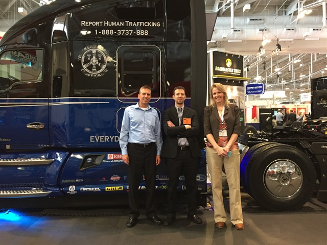 "Inland Kenworth will auction off a special KW T680 ""Everyday Heroes"" truck in June and donate the proceeds to Truckers Against Trafficking. Here the truck is on display at FlowBelow's booth at the Technology & Maintenance Council annual meeting earlier this year. Photo: Deborah Lockridge"