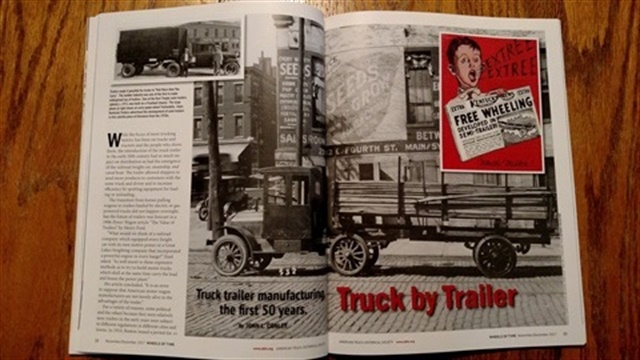 An article in ATHS's Wheels of Time summarizes the book content during the first 50 years of trailer manufacturing.
