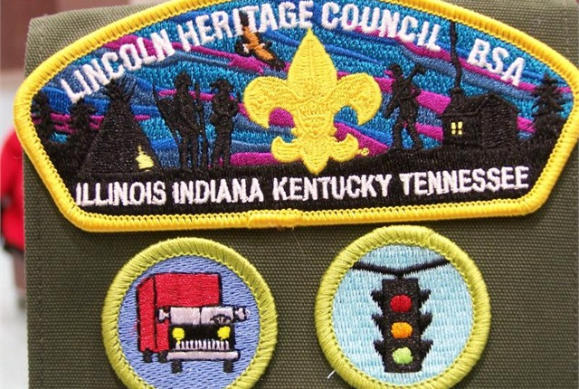 Scouts earned their Truck Transportation and Traffic Safety merit badges.