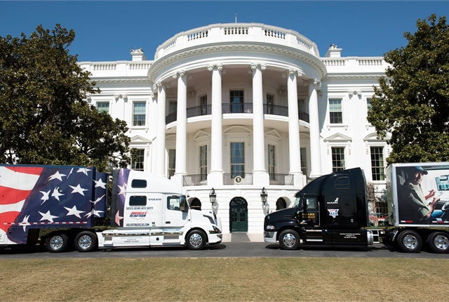 Parked on the White House lawn were ATA's Image Truck, Interstate One, and ATA's Share the Road Truck. Photo: ATA