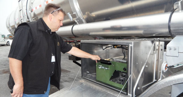 Crude oil analyzer was installed on this Heil tanker by Rush Peterbilt's shop in San Antonio as part of its work to support the oil boom in the region, says Service Manager Fred Scott.