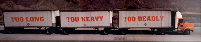 This image from the Truck Safety Coalition website is an example of the type of message in Gavzer's controversial article.