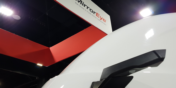 MirrorEye replaces a truck's mirrors with integrated external digital cameras and digital...
