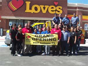 Love's invested approximately $7.5 million in the new travel stop, which includes 100 new truck parking spaces, two on-site restaurants and a truck tire care center.