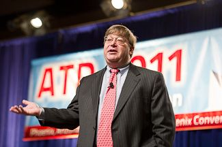 Charlie Cook addresses the general session at the ATD Convention and Expo on April 18.