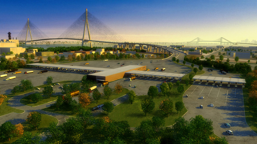 An artist's rendering of a bridge proposal to connect Windsor, Ontario, and Detroit, Michigan.
