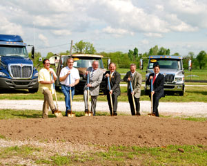 Left to right: Geoffrey Butler, Rich Kramer, Jim O'Neal, Richard Sweebe, Steve Cook and Rob Dixon break ground for the new location in Springfield, Mo.