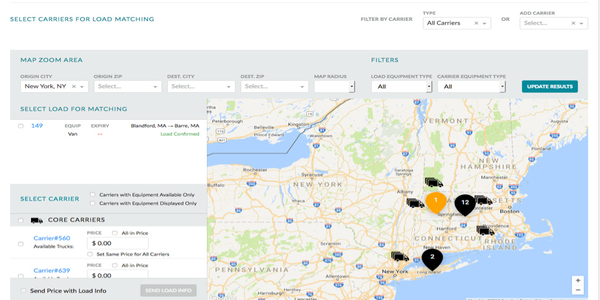 This carrier sourcing screen is one example of how the EKA Omni-TMS cloud platform offers...