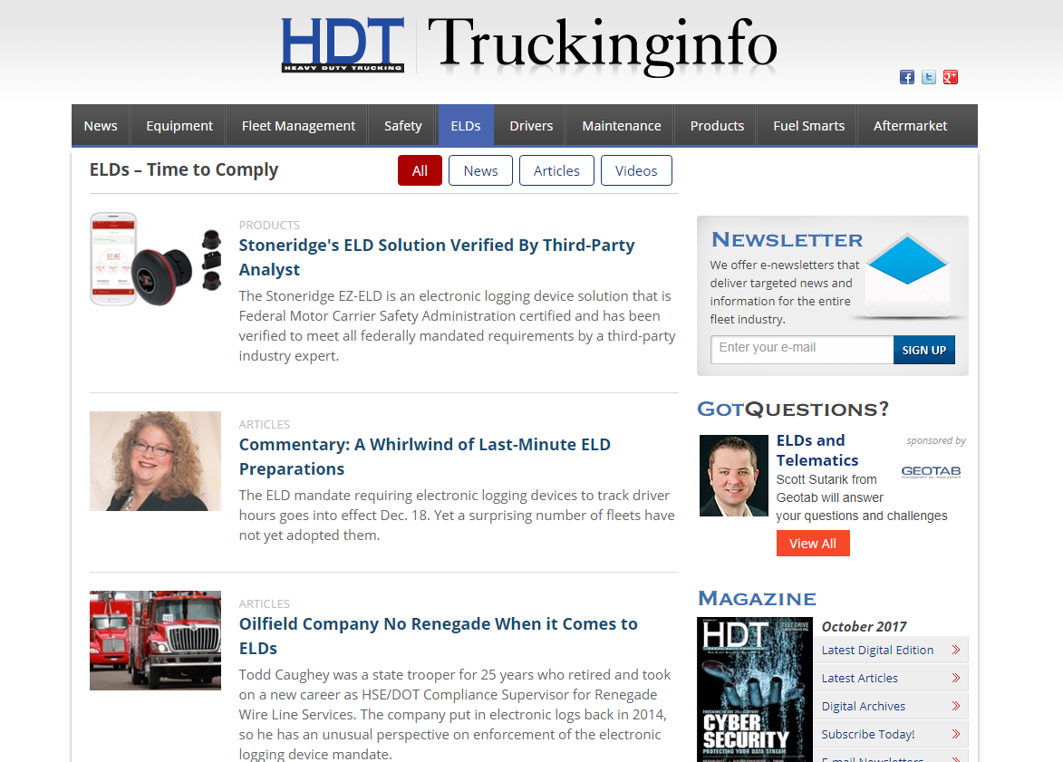 HDT's New ELD Channel Keeps You Up to Speed