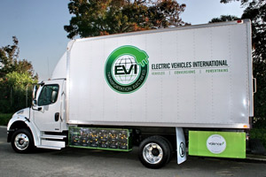 Electric Vehicles International's medium- and heavy-duty trucks are eligible for the CARB rebate.