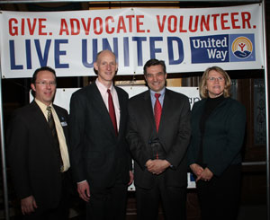 Frm the left: Scott Dzurka, president and CEO of MAUW; Bill Braun, chair Galesburg Community Support Committee; Tim Sinden, president, Eaton truck operations North America; Joan Blanchard, chair of United Way campaign for the Galesburg facility.
