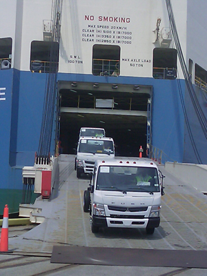 FUSO Canter FE/FG Series Work Trucks Arrive at US Ports