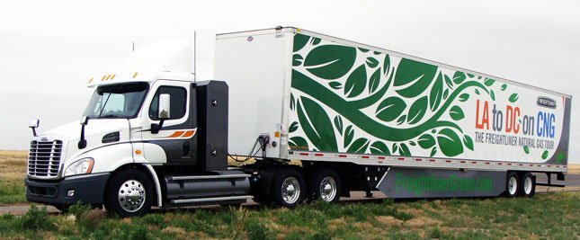 Freightliner recently ran a trip from LA to DC on compressed natural gas to showcase the new Cascadia 113 day cab tractor and ISX 12 G combination.