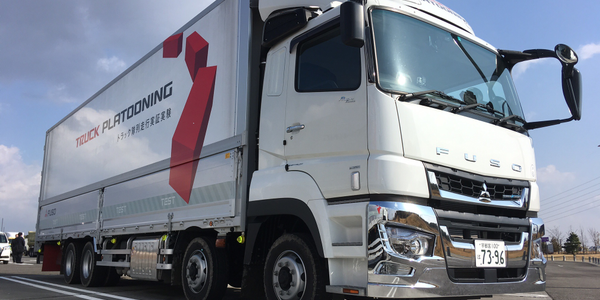 Daimler Trucks is testing Fuso Super Great heavy trucks in platooning runs with other truck...