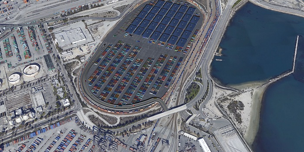 A 5.5 million square foot container staging facility at the Port of Los Angeles would help...