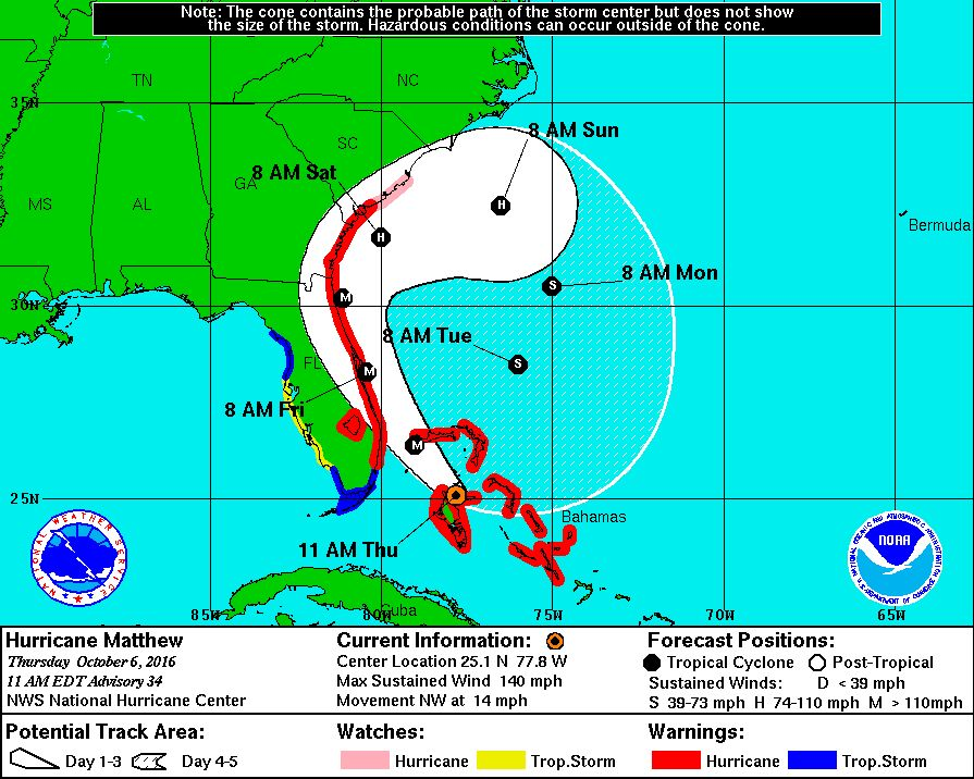 As Hurricane Matthew Approaches, States Prepare for Emergency