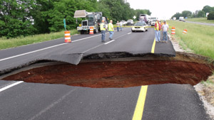 The sinkhole is estimated to be 25 feet wide and 25 feet deep.