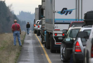 In 2007, flooding closed I-5 for four days, stranding truckers and other traffic.
