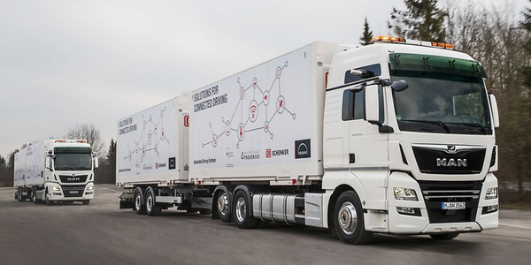 A customer of MAN Truck & Bus will be testing platooned trucks in revenue runs this year on the...