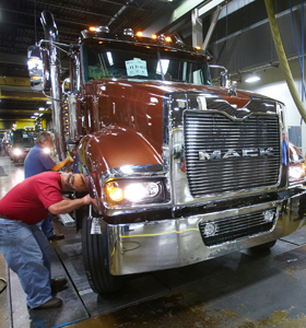 Here, technicians at the Macungie plant assemble a Titan truck by Mack.