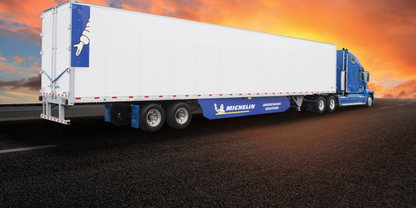 Michelin's new Energy Guard tractor trailer aerodynamic system features a new, wake reducer tab...