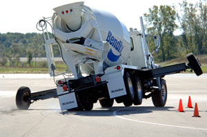 Mack demonstrates how a mixer can start to tip over without stability control.