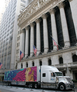 Celadon displayed the winner art on one of its trucks outside of the New York Stock Exchange.