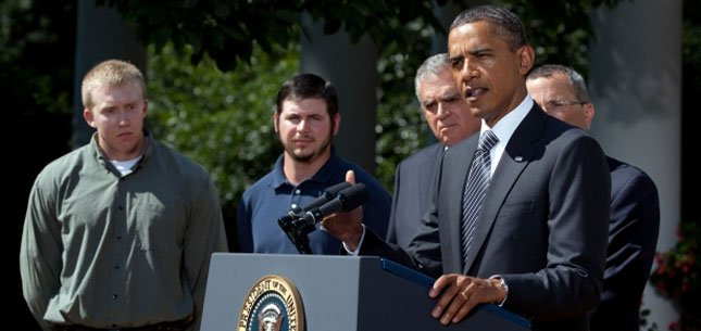 President Obama talks about highway funding in the Rose Garden yesterday. (White House Photo by Chuck Kennedy.)