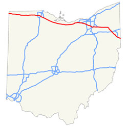 The Ohio Turnpike stretches 241 miles across Ohio from Indiana to Pennsylvania.