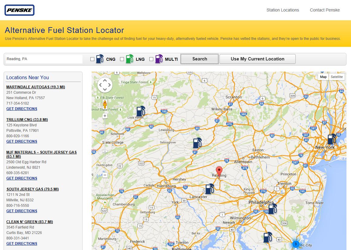 Penske Offers Online Alternative Fuel Station Finder