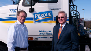 Navistar awarded Perdue Farms its Strategic Partnership Award for collaboration to create an ultra lightweight tractor specification and tractor-trailer electronics integration.