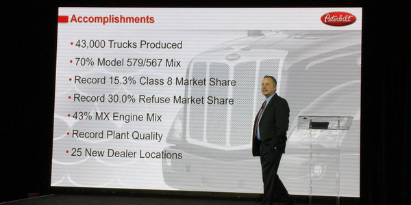 General Manager Kyle Quinn talks about Peterbilt's 2017 accomplishments. Photo: Deborah Lockridge