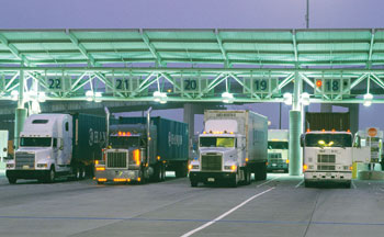 Trucks entering a pier at the Port of Long Beach.
