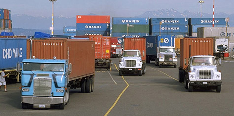 Labor interests and the trucking industry continue to battle it out over harbor trucking. (Photo courtesy of the Port of Seattle)